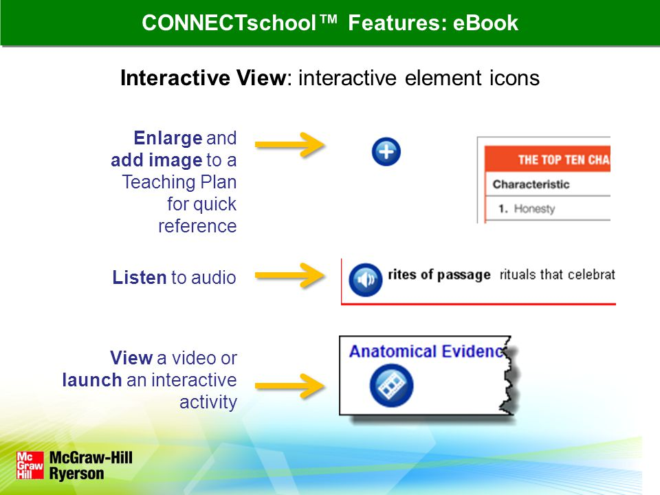 Interactive View: interactive element icons Enlarge and add image to a Teaching Plan for quick reference Listen to audio View a video or launch an interactive activity CONNECTschool Features: eBook