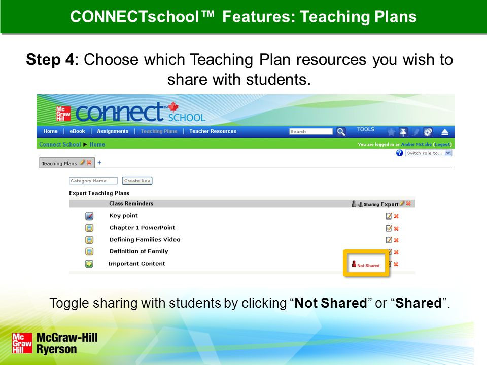 Step 4: Choose which Teaching Plan resources you wish to share with students.