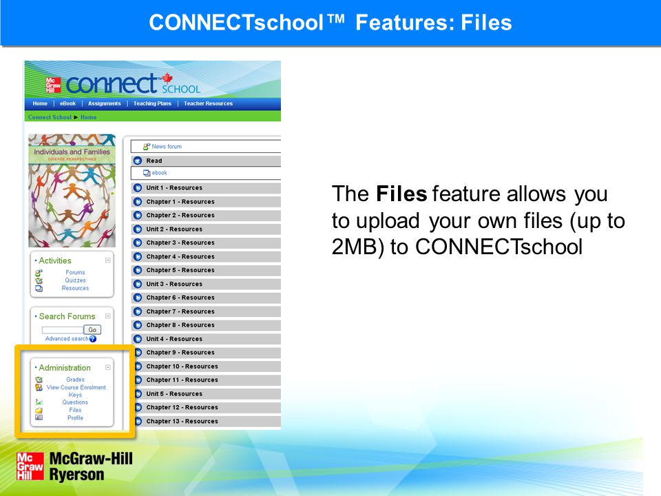 CONNECTschool Features: Files The Files feature allows you to upload your own files (up to 2MB) to CONNECTschool