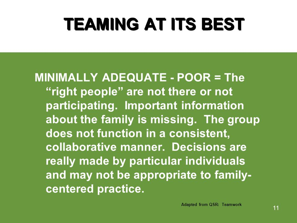 TEAMING AT ITS BEST MINIMALLY ADEQUATE - POOR = The right people are not there or not participating.
