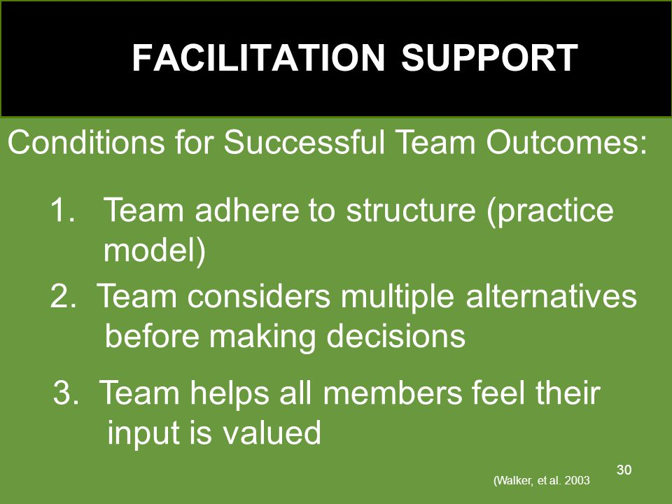 Conditions for Successful Team Outcomes: 1.Team adhere to structure (practice model) (Walker, et al.