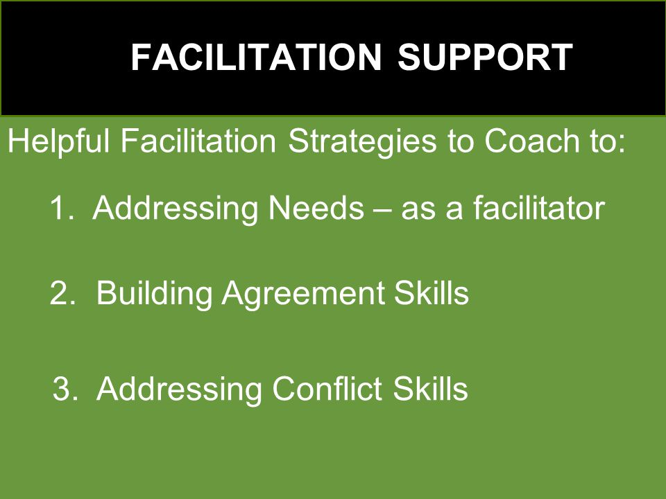 FACILITATION SUPPORT Helpful Facilitation Strategies to Coach to: 1.