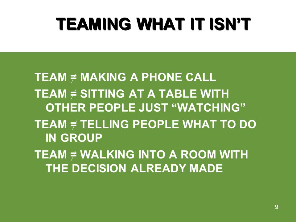TEAMING WHAT IT ISNT TEAM = MAKING A PHONE CALL TEAM = SITTING AT A TABLE WITH OTHER PEOPLE JUST WATCHING TEAM = TELLING PEOPLE WHAT TO DO IN GROUP TEAM = WALKING INTO A ROOM WITH THE DECISION ALREADY MADE 9