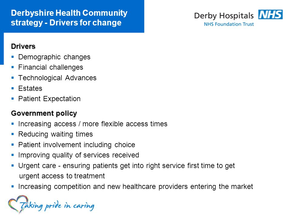 Derbyshire Health Community strategy - Drivers for change Drivers Demographic changes Financial challenges Technological Advances Estates Patient Expectation Government policy Increasing access / more flexible access times Reducing waiting times Patient involvement including choice Improving quality of services received Urgent care - ensuring patients get into right service first time to get urgent access to treatment Increasing competition and new healthcare providers entering the market