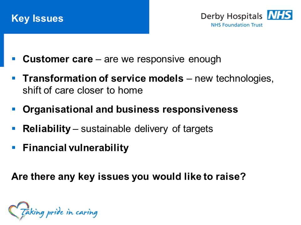 Key Issues Customer care – are we responsive enough Transformation of service models – new technologies, shift of care closer to home Organisational and business responsiveness Reliability – sustainable delivery of targets Financial vulnerability Are there any key issues you would like to raise
