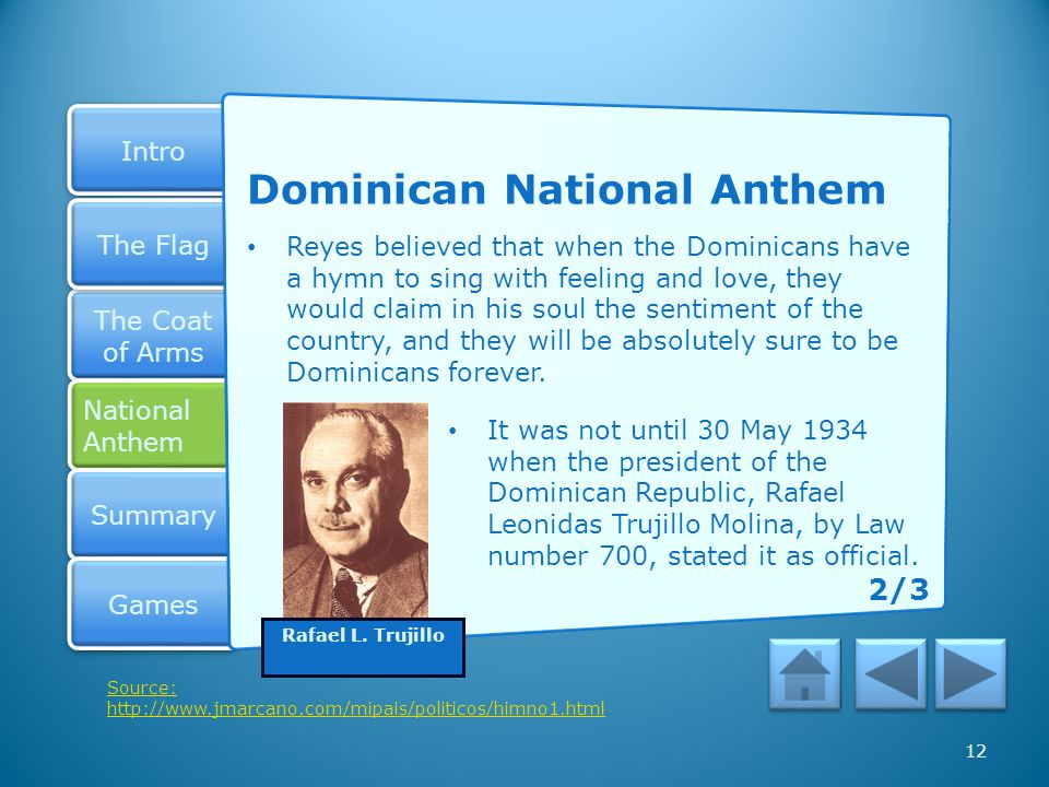 Intro The Coat of Arms The Coat of Arms National Anthem National Anthem Summary Games The Flag 11 Dominican National Anthem The Dominican national ant