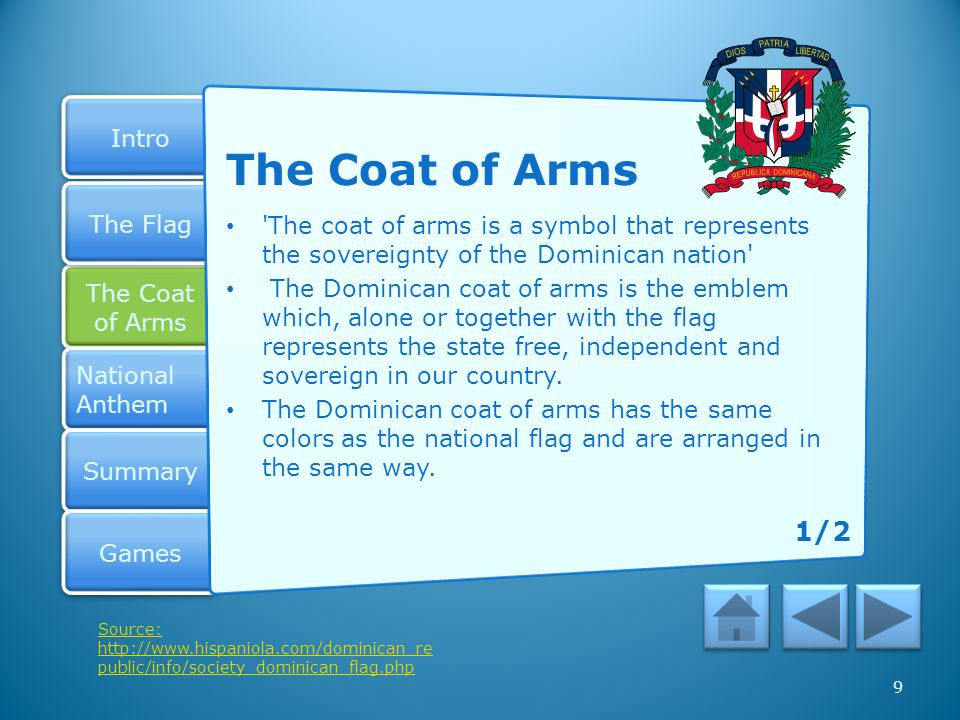 Intro The Coat of Arms The Coat of Arms National Anthem National Anthem Summary Games The Flag Did you put the names in this order on your Coat of Arms.