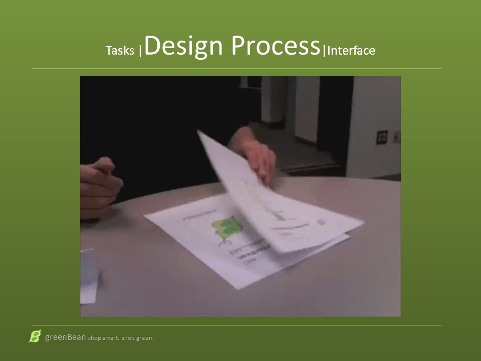 greenBean shop smart. shop green. Tasks | Design Process |Interface Usability test video goes here