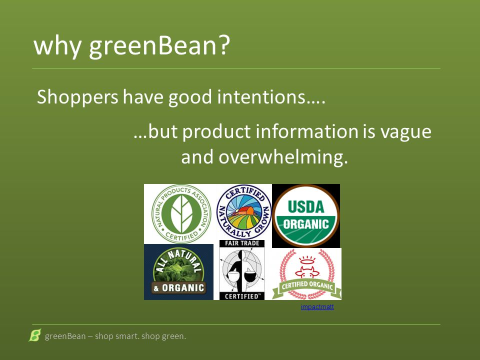 why greenBean? Shoppers have good intentions…. …but product information is vague and overwhelming. greenBean – shop smart. shop green. impactmatt