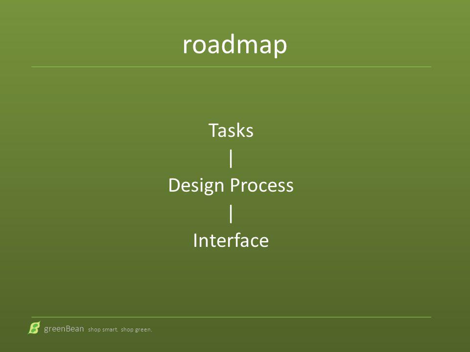roadmap Tasks | Design Process | Interface greenBean shop smart. shop green.