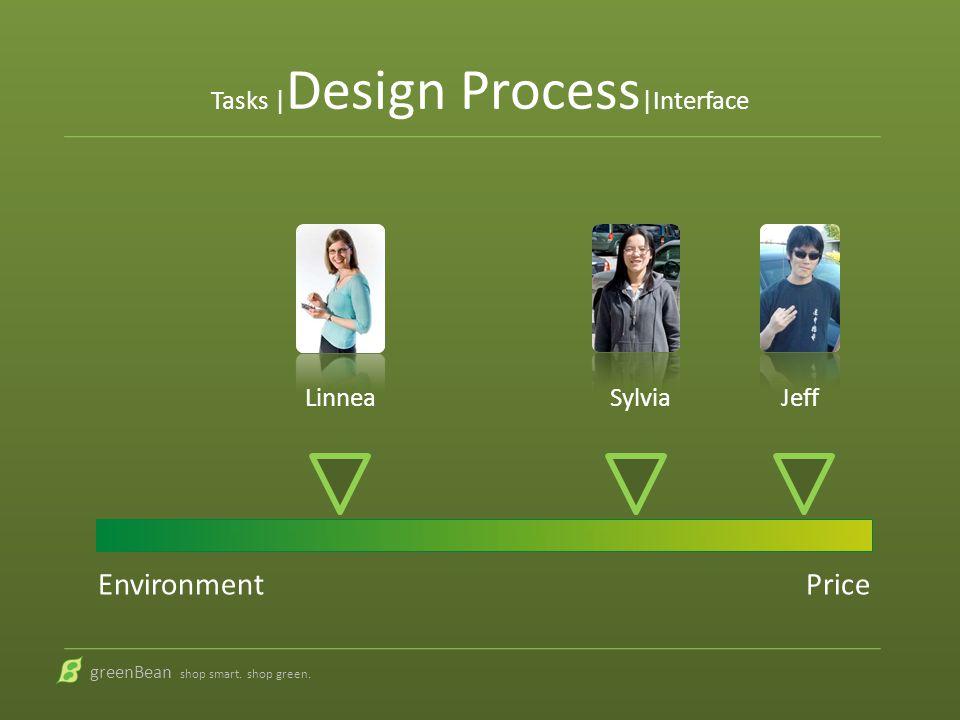 Tasks | Design Process |Interface greenBean shop smart. shop green.