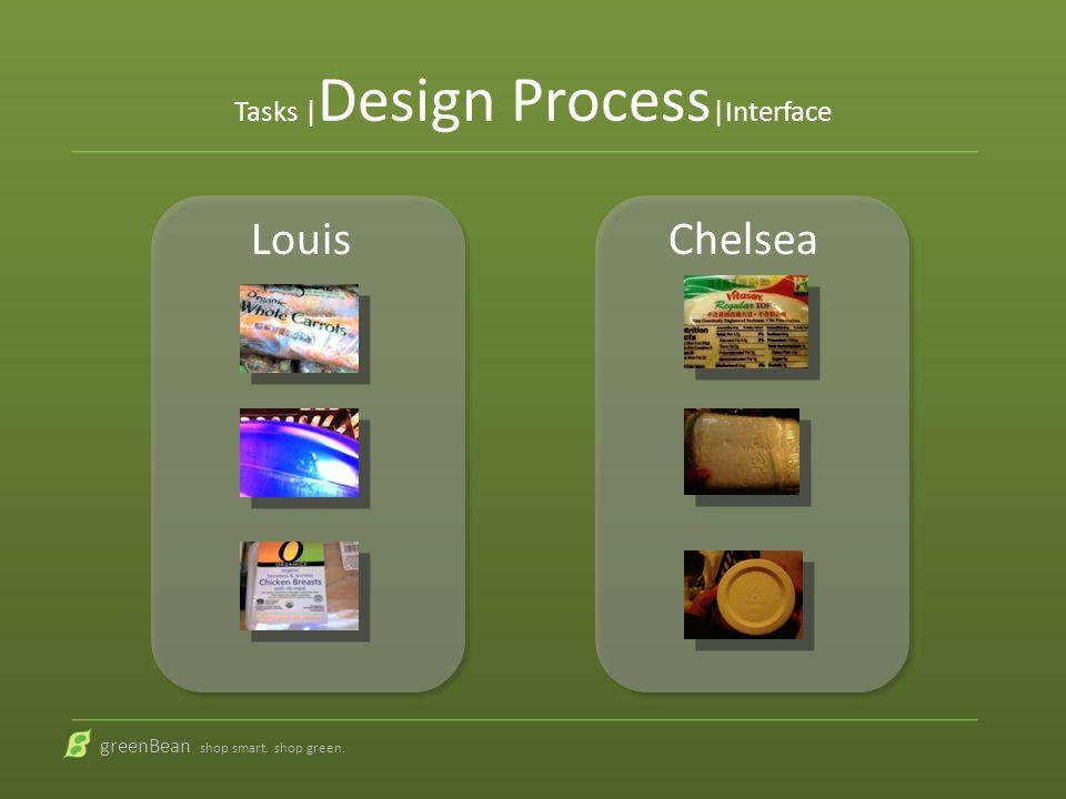 Tasks | Design Process |Interface greenBean shop smart. shop green. Louis Chelsea
