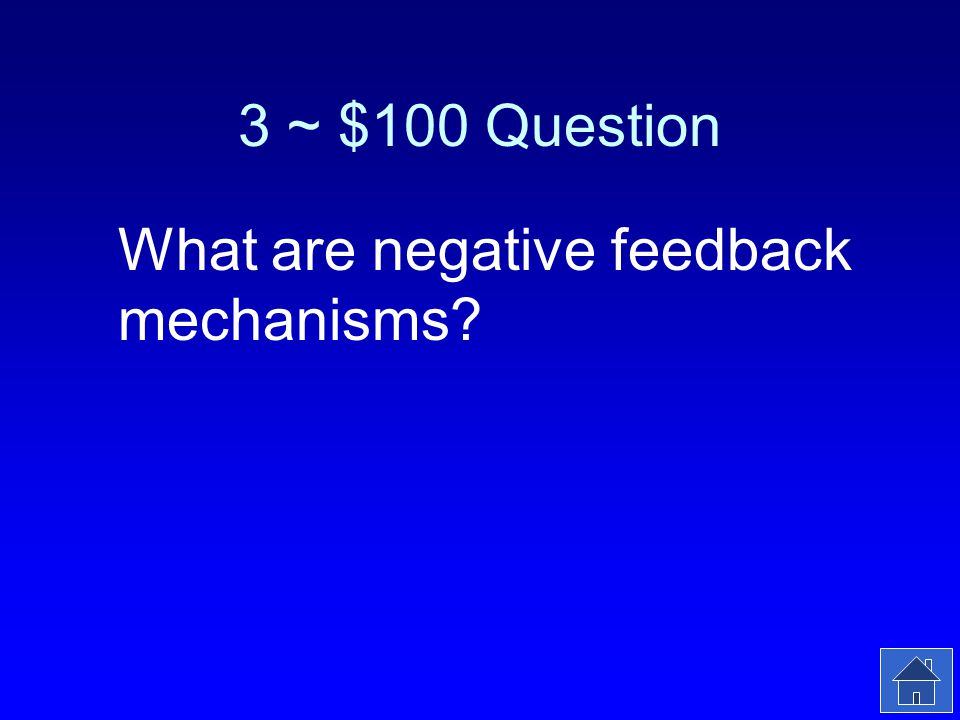 3 ~ $100 Answer Most regulation mechanisms in the body are of this type.