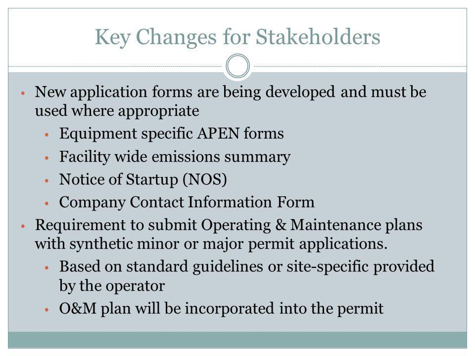 Key Changes for Stakeholders New application forms are being developed and must be used where appropriate Equipment specific APEN forms Facility wide emissions summary Notice of Startup (NOS) Company Contact Information Form Requirement to submit Operating & Maintenance plans with synthetic minor or major permit applications.