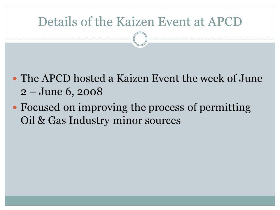 Details of the Kaizen Event at APCD The APCD hosted a Kaizen Event the week of June 2 – June 6, 2008 Focused on improving the process of permitting Oil & Gas Industry minor sources