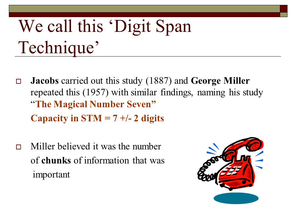 We call this Digit Span Technique Jacobs carried out this study (1887) and George Miller repeated this (1957) with similar findings, naming his studyT