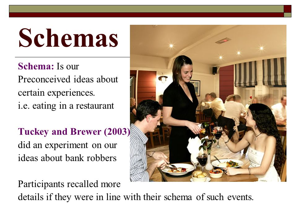 Schemas Schema: Is our Preconceived ideas about certain experiences. i.e. eating in a restaurant Tuckey and Brewer (2003) did an experiment on our ide