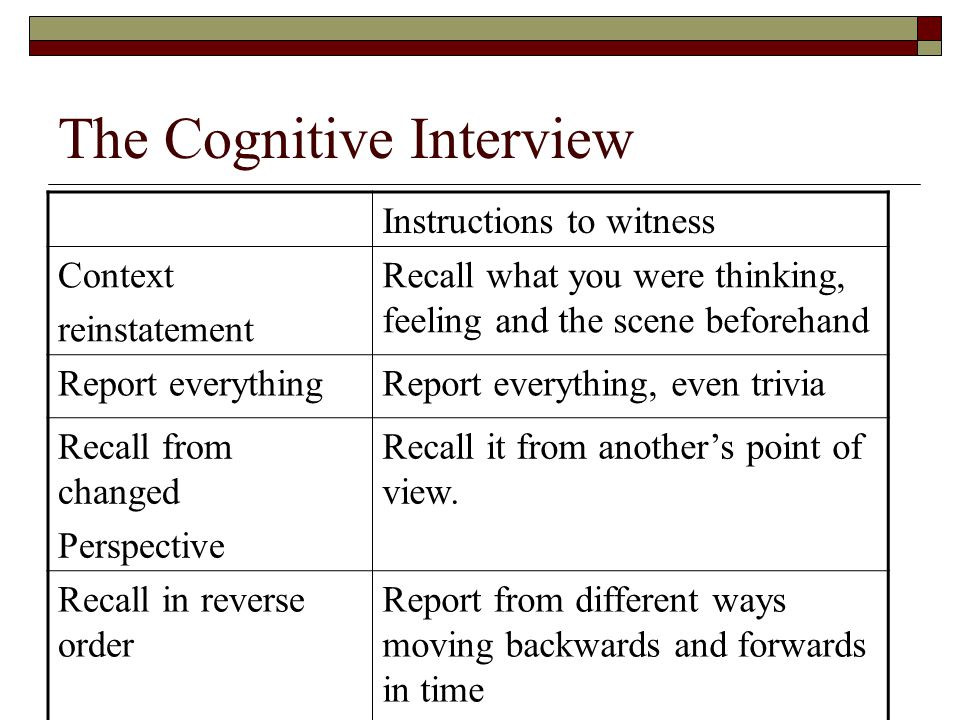 The Cognitive Interview Instructions to witness Context reinstatement Recall what you were thinking, feeling and the scene beforehand Report everythin