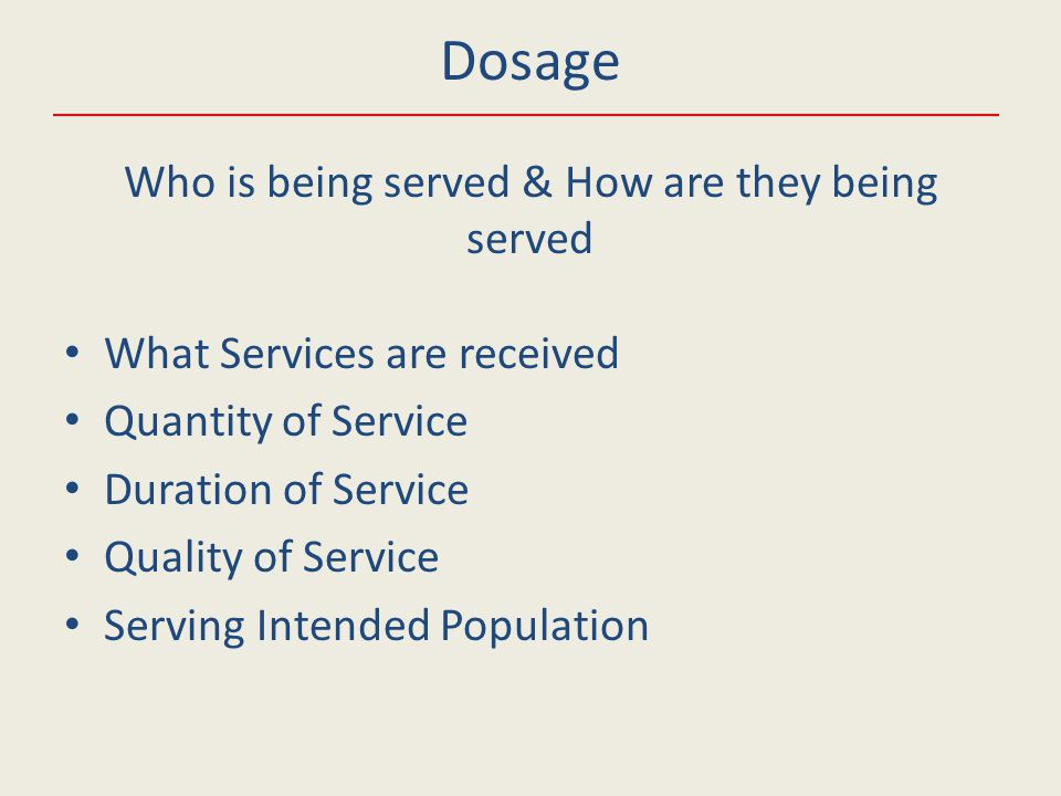 What Services are received Quantity of Service Duration of Service Quality of Service Serving Intended Population Dosage Who is being served & How are they being served