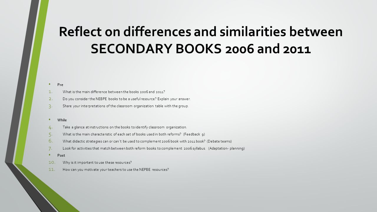 Reflect on differences and similarities between SECONDARY BOOKS 2006 and 2011 Pre 1.