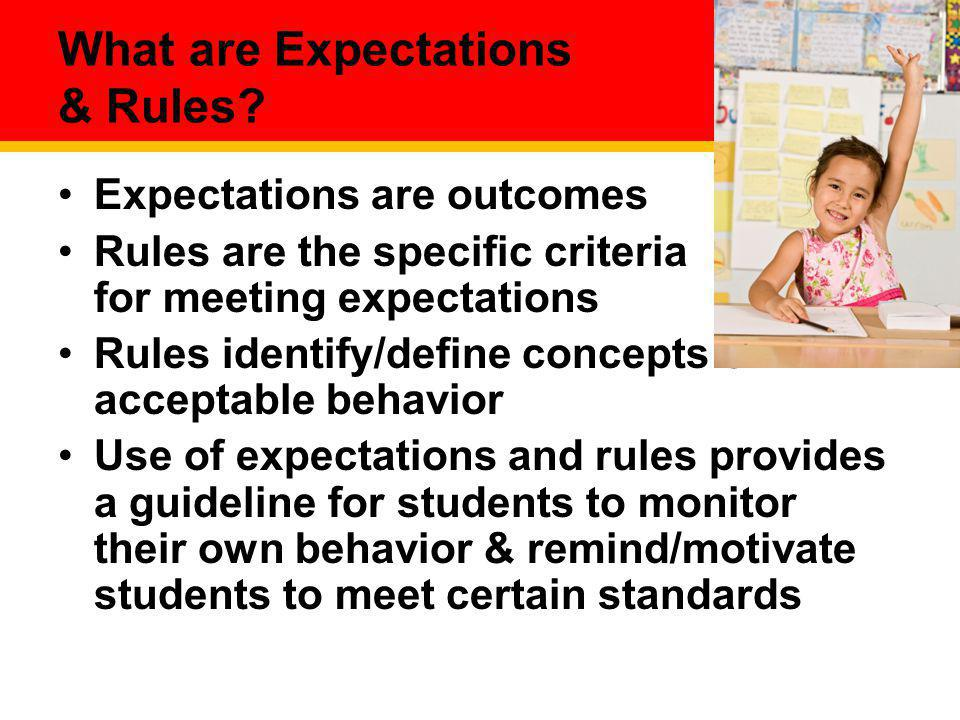 What are Expectations & Rules? Expectations are outcomes Rules are the specific criteria for meeting expectations Rules identify/define concepts of ac