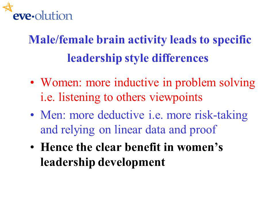 Male/female brain activity leads to specific leadership style differences Women: more inductive in problem solving i.e.