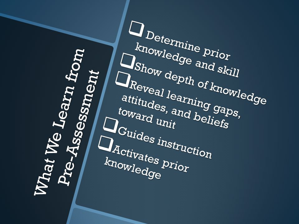 What We Learn from Pre-Assessment Determine prior knowledge and skill Determine prior knowledge and skill Show depth of knowledge Show depth of knowledge Reveal learning gaps, attitudes, and beliefs toward unit Reveal learning gaps, attitudes, and beliefs toward unit Guides instruction Guides instruction Activates prior knowledge Activates prior knowledge