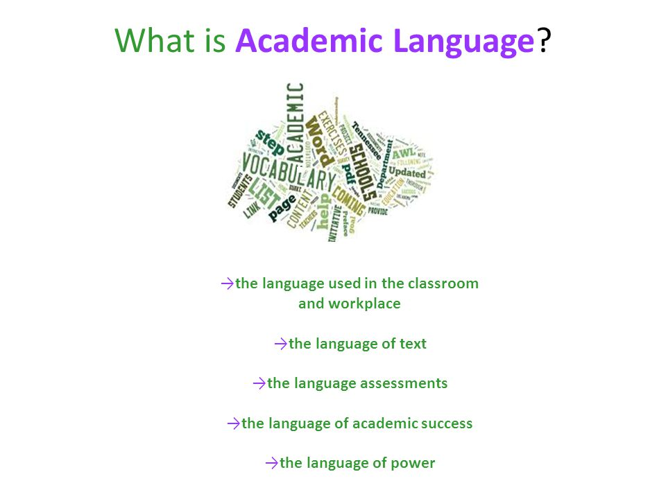 the language used in the classroom and workplace the language of text the language assessments the language of academic success the language of power What is Academic Language?