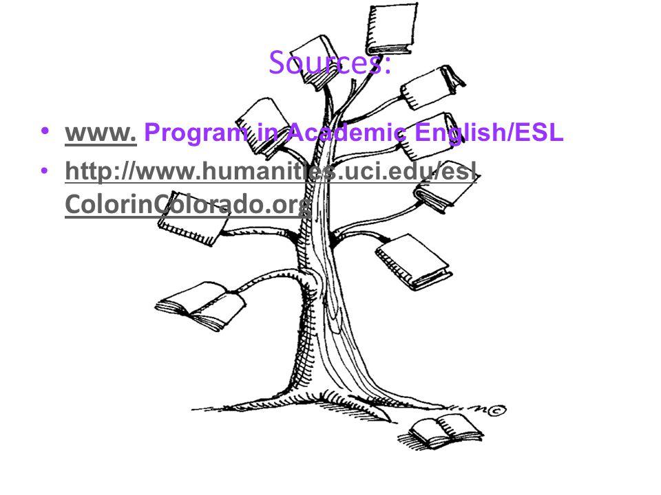 Sources: www.Program in Academic English/ESL www.