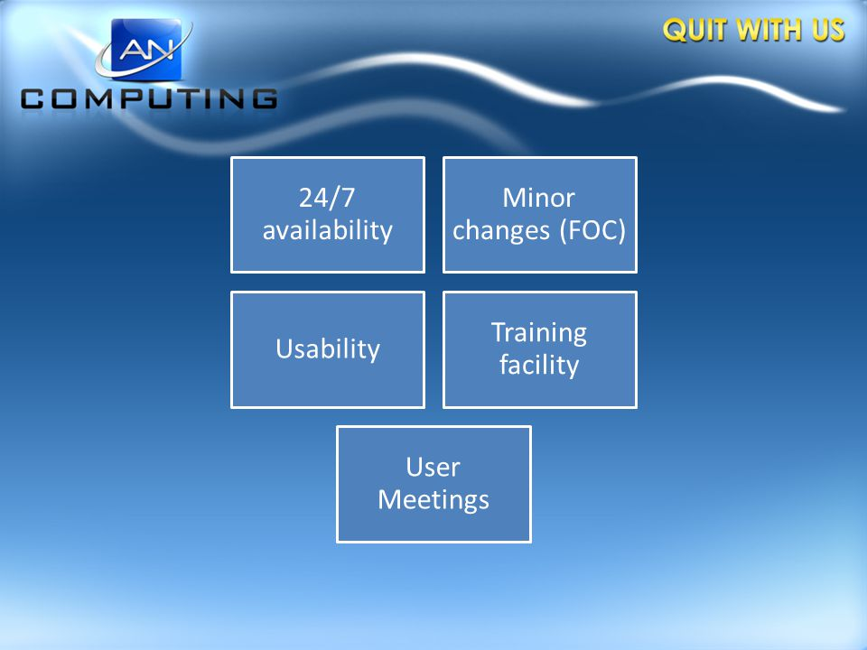 24/7 availability Minor changes (FOC) Usability Training facility User Meetings
