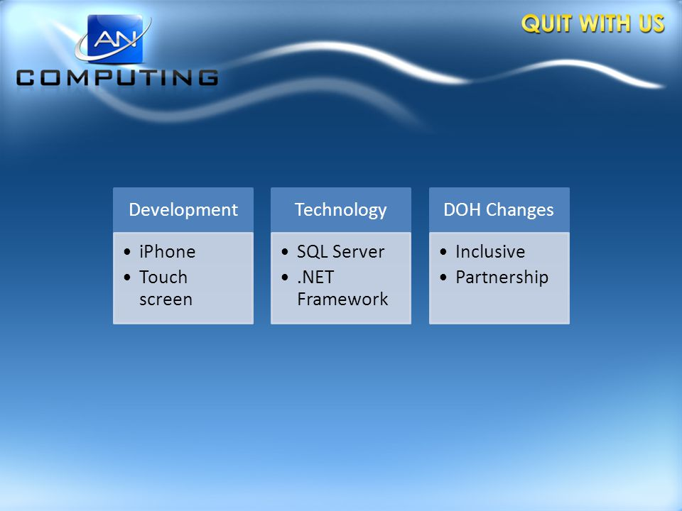 Development iPhone Touch screen Technology SQL Server.NET Framework DOH Changes Inclusive Partnership