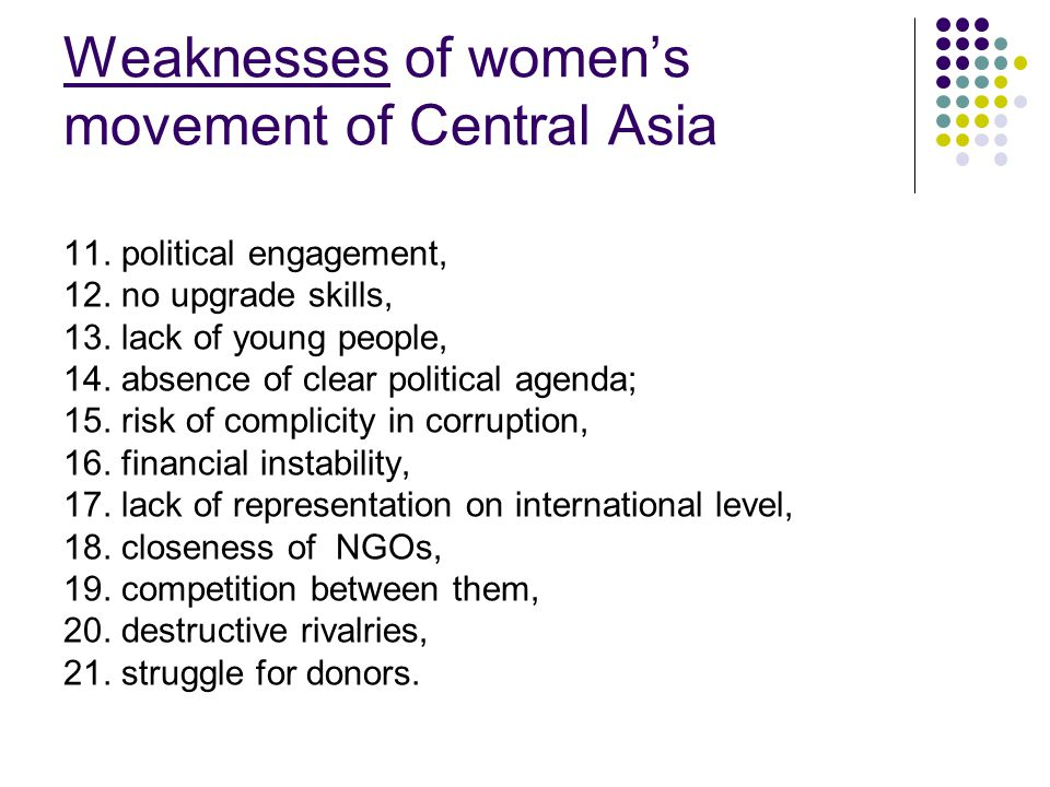 Weaknesses of womens movement of Central Asia 11. political engagement, 12. no upgrade skills, 13. lack of young people, 14. absence of clear politica