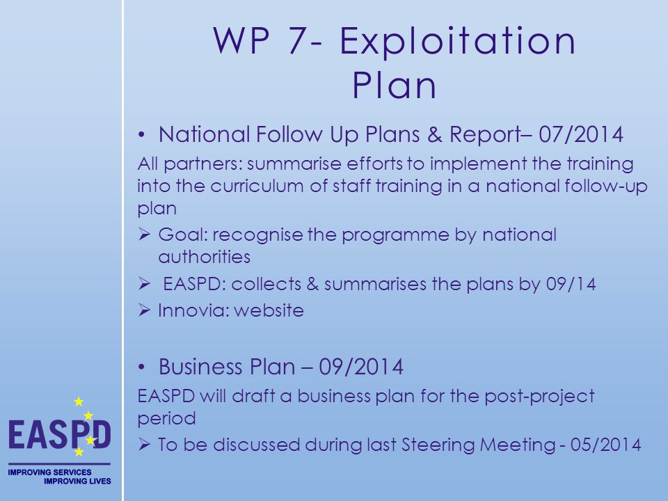 WP 7- Exploitation Plan National Follow Up Plans & Report– 07/2014 All partners: summarise efforts to implement the training into the curriculum of staff training in a national follow-up plan Goal: recognise the programme by national authorities EASPD: collects & summarises the plans by 09/14 Innovia: website Business Plan – 09/2014 EASPD will draft a business plan for the post-project period To be discussed during last Steering Meeting - 05/2014