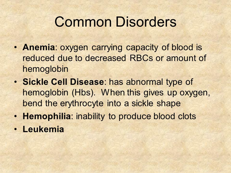 Common Disorders Anemia: oxygen carrying capacity of blood is reduced due to decreased RBCs or amount of hemoglobin Sickle Cell Disease: has abnormal