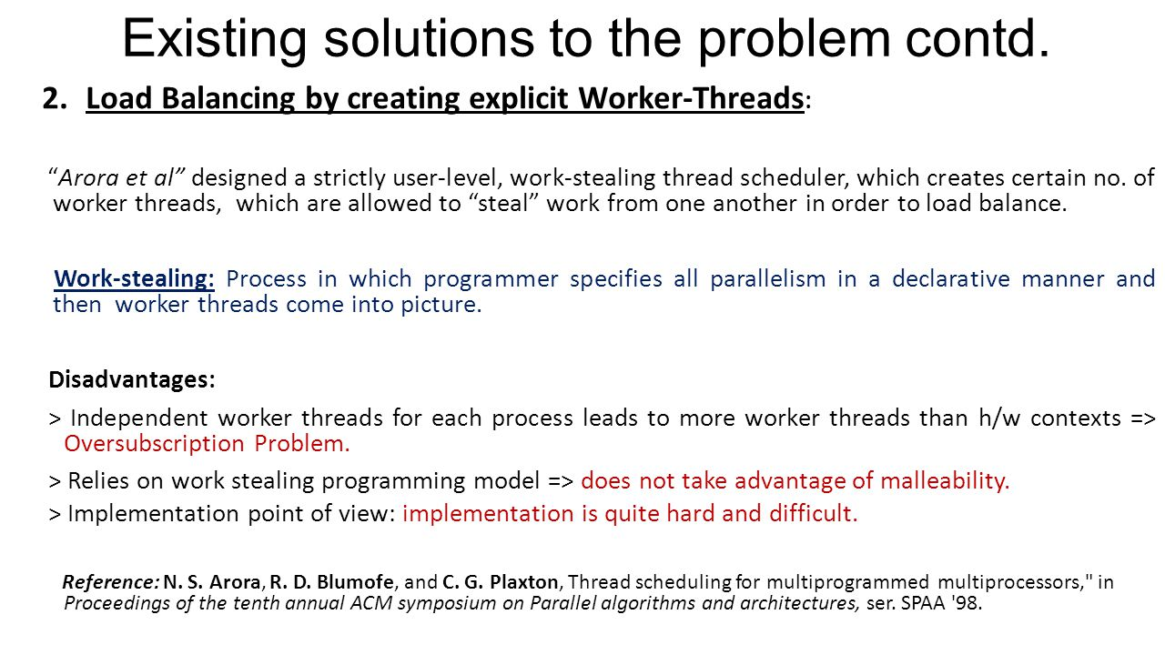 Existing solutions to the problem contd. 2.Load Balancing by creating explicit Worker-Threads : Arora et al designed a strictly user-level, work-steal
