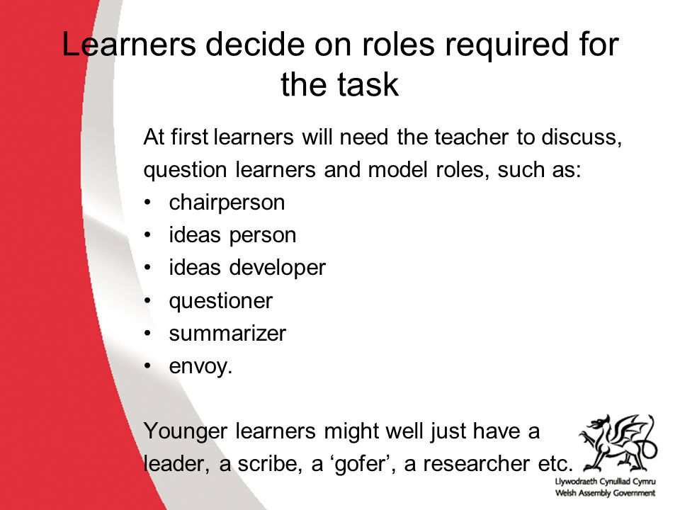 Learners decide on roles required for the task At first learners will need the teacher to discuss, question learners and model roles, such as: chairperson ideas person ideas developer questioner summarizer envoy.
