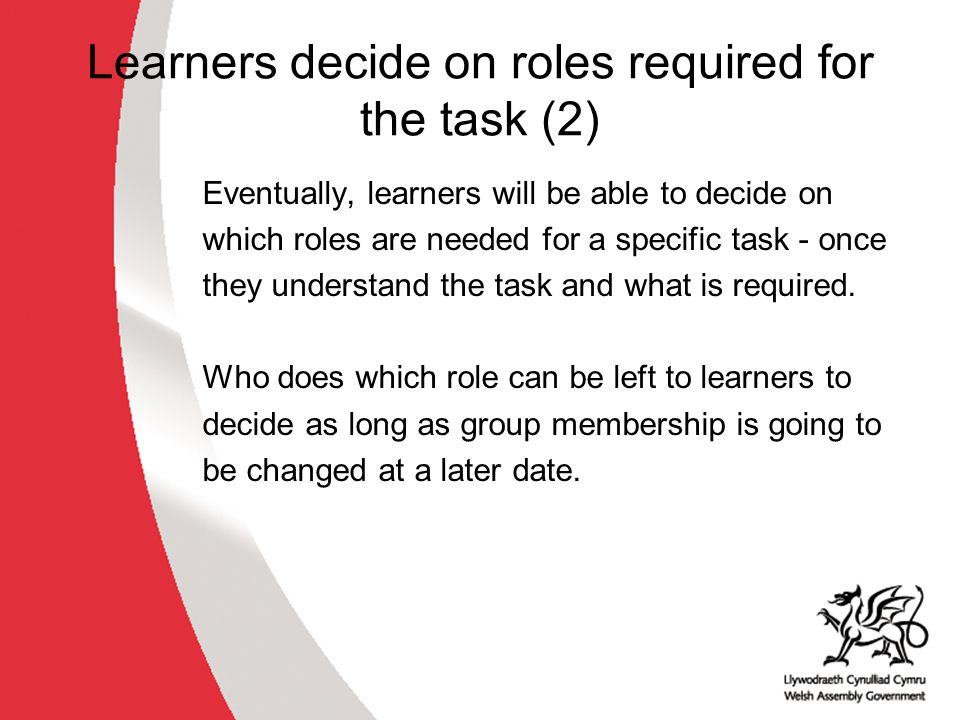 Learners decide on roles required for the task (2) Eventually, learners will be able to decide on which roles are needed for a specific task - once they understand the task and what is required.