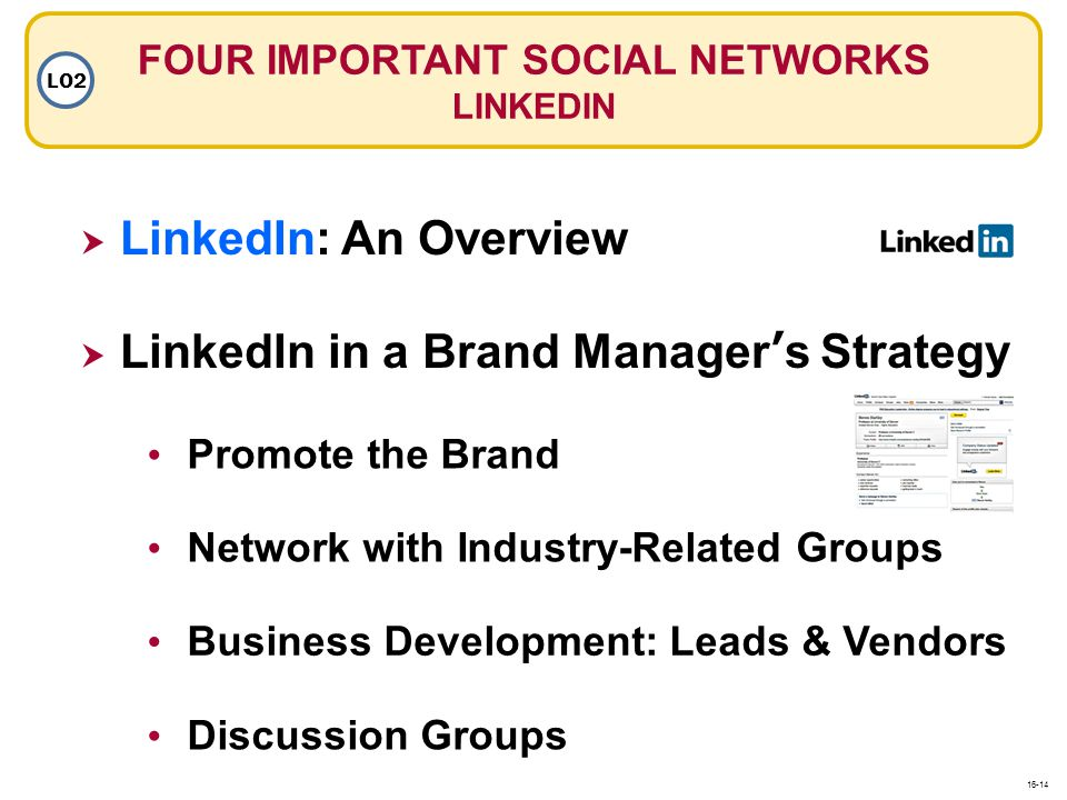 LinkedIn: An Overview LinkedIn: An Overview Network with Industry-Related Groups Business Development: Leads & Vendors FOUR IMPORTANT SOCIAL NETWORKS