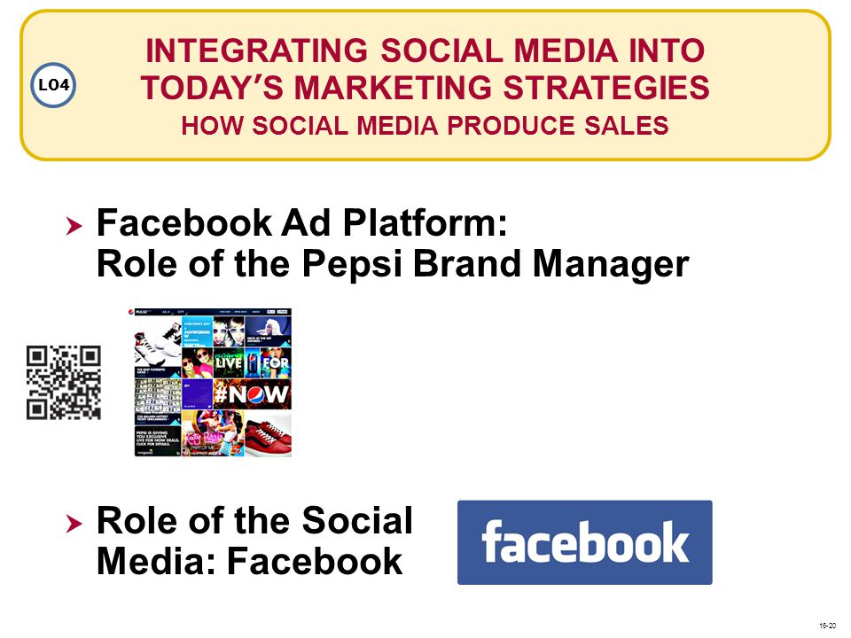 INTEGRATING SOCIAL MEDIA INTO TODAYS MARKETING STRATEGIES HOW SOCIAL MEDIA PRODUCE SALES LO4 Facebook Ad Platform: Role of the Pepsi Brand Manager Rol