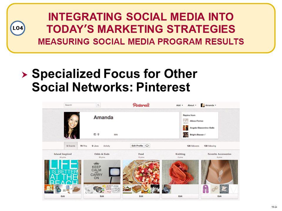INTEGRATING SOCIAL MEDIA INTO TODAYS MARKETING STRATEGIES MEASURING SOCIAL MEDIA PROGRAM RESULTS LO4 Specialized Focus for Other Social Networks: Pint