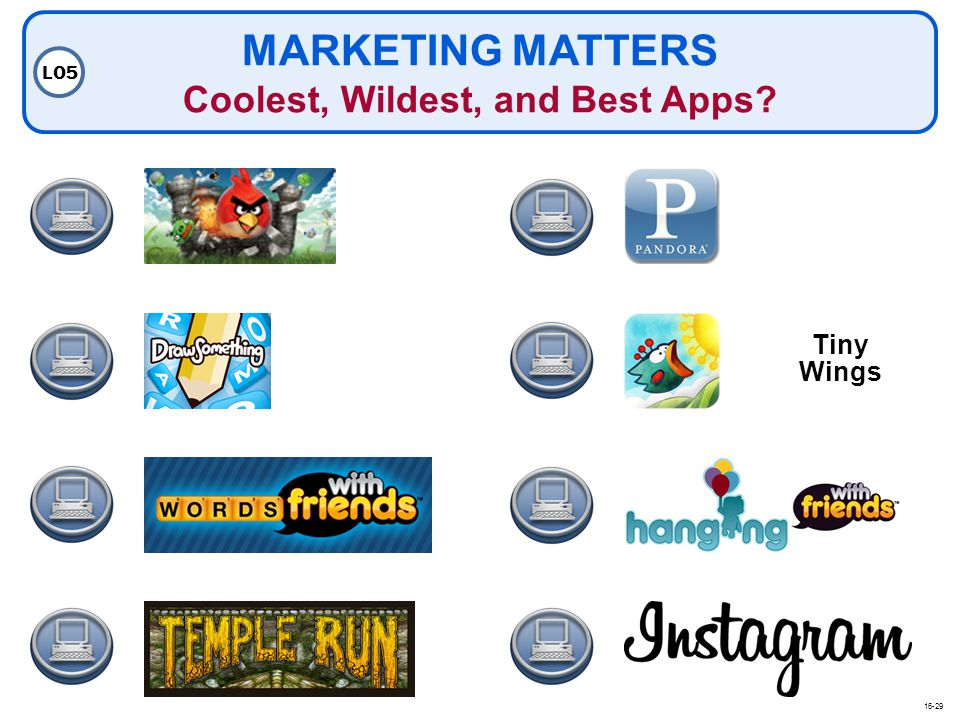 MARKETING MATTERS Coolest, Wildest, and Best Apps? LO5 Tiny Wings 16-29