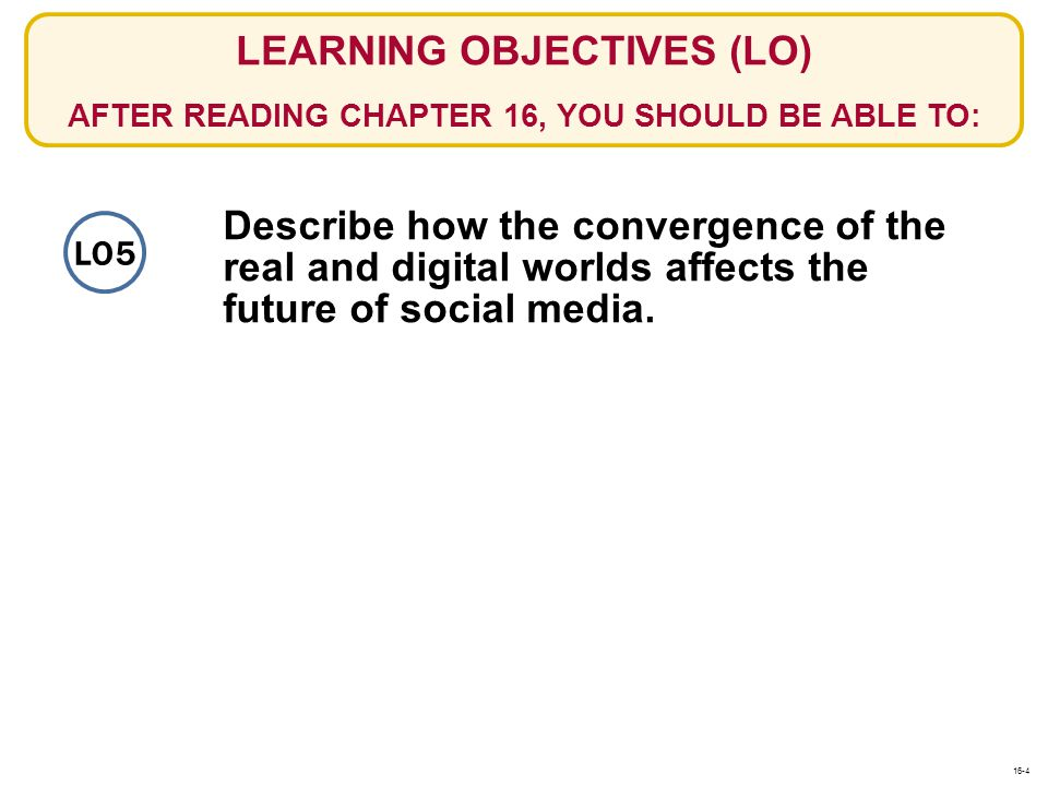 Describe how the convergence of the real and digital worlds affects the future of social media. LEARNING OBJECTIVES (LO) AFTER READING CHAPTER 16, YOU