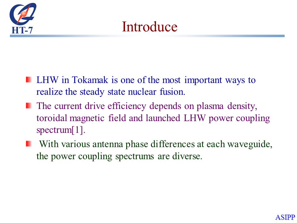 HT-7 ASIPP Introduce LHW in Tokamak is one of the most important ways to realize the steady state nuclear fusion.