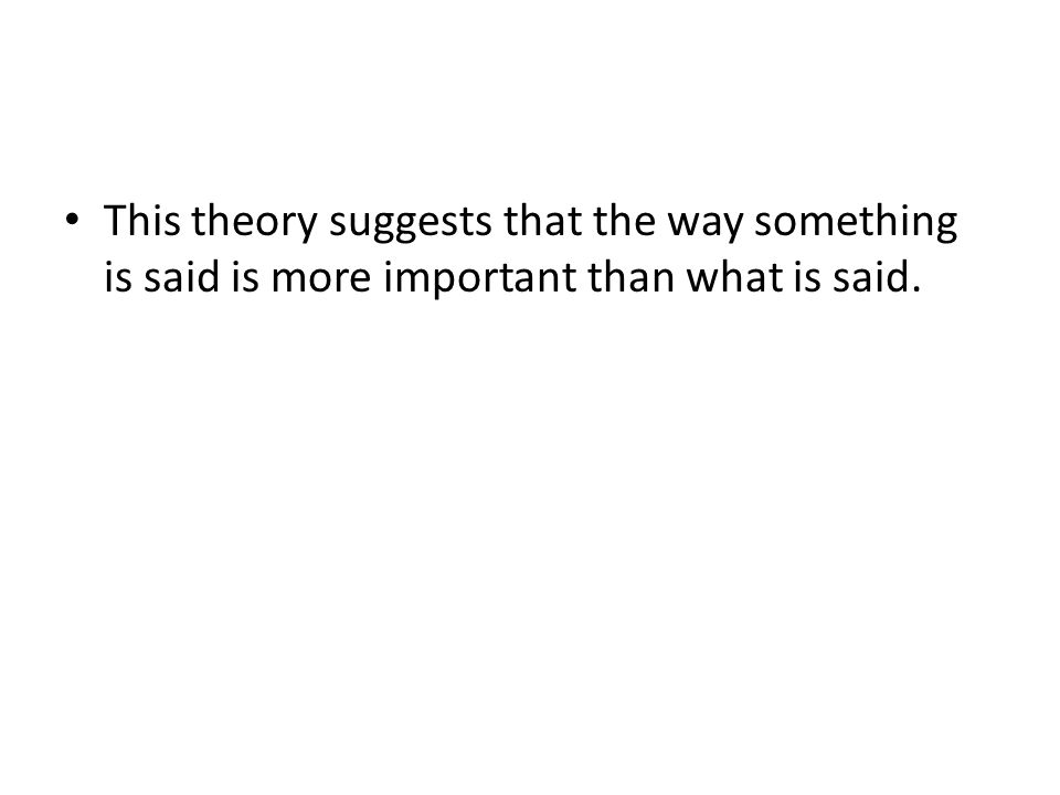 This theory suggests that the way something is said is more important than what is said.