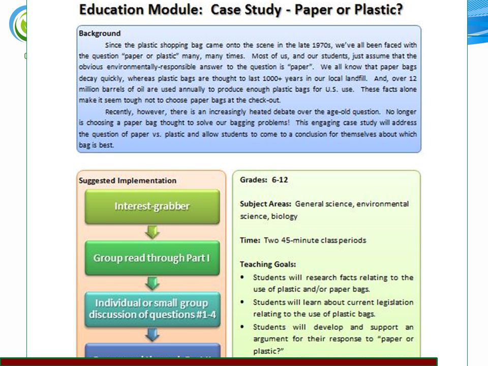Biorenewables Educational Resources 33 Case Study collection (paper vs.