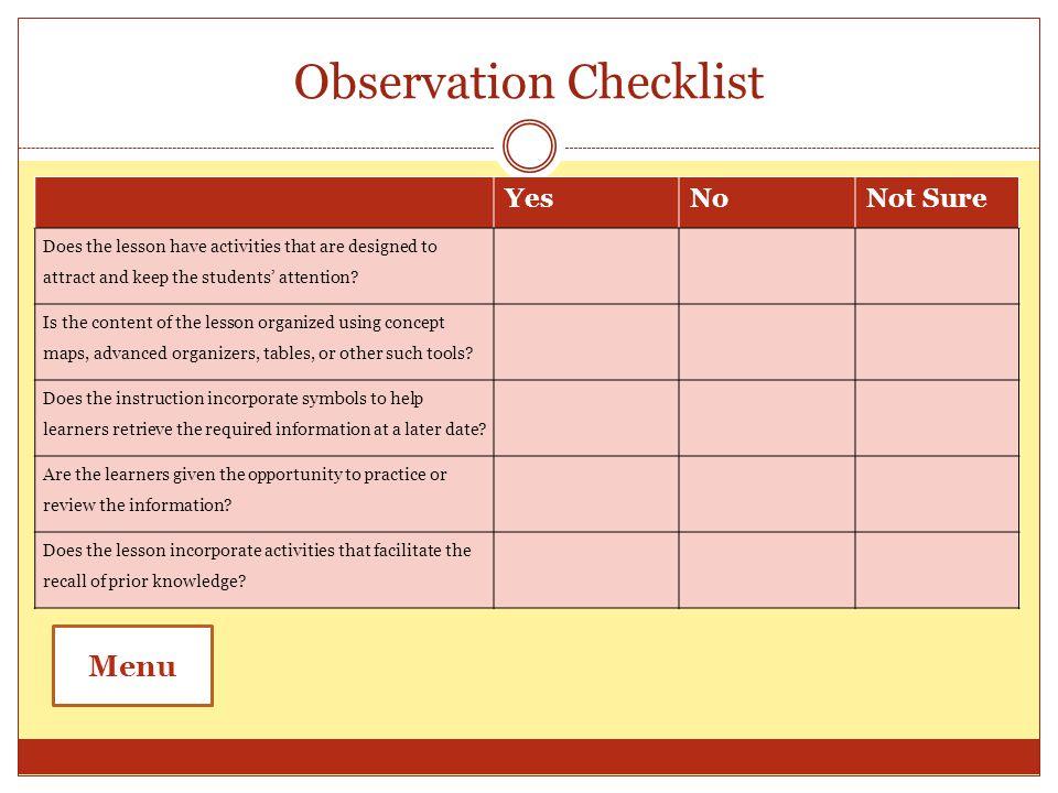 Learning Scenario Link Menu Description and Recommendations