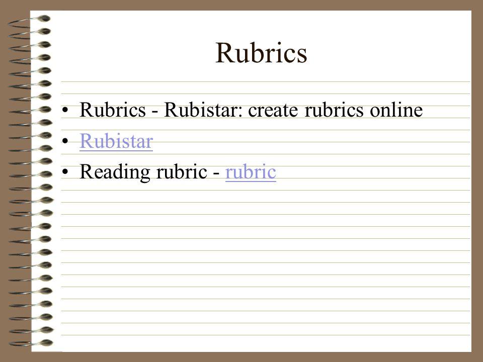 Rubrics Rubrics - Rubistar: create rubrics online Rubistar Reading rubric - rubricrubric
