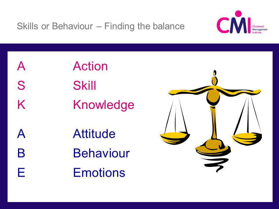 Skills or Behaviour – Finding the balance AAction SSkill KKnowledge AAttitude BBehaviour EEmotions