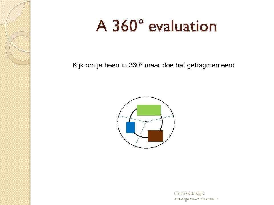A 360° evaluation A 360° evaluation firmin verbrugge ere-algemeen directeur Kijk om je heen in 360° maar doe het gefragmenteerd