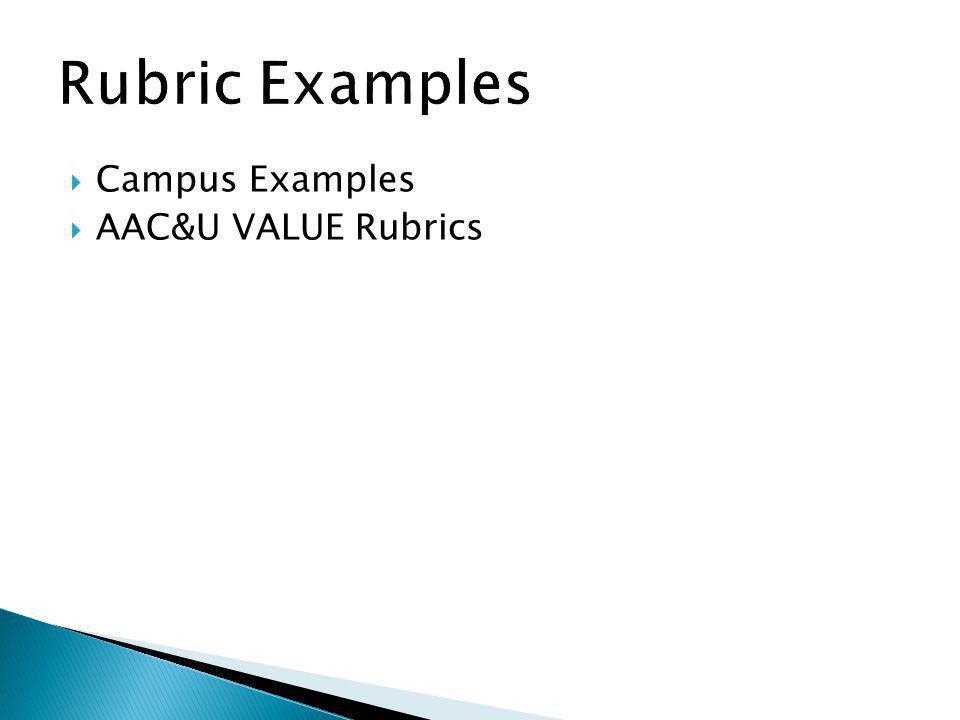 Campus Examples AAC&U VALUE Rubrics